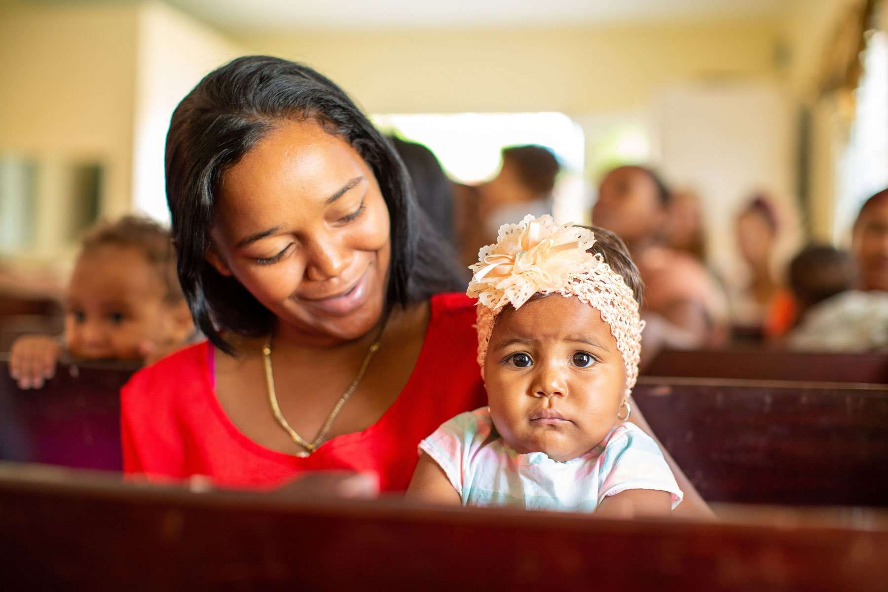 Mom and Baby at church in the Dominican Republic