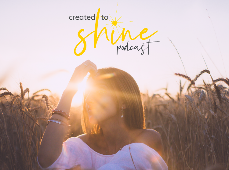 Created to Shine Logo on image of woman back lit by the sun